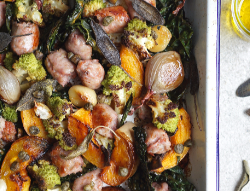 Tray Roasted Butternut Romanesco and Sausage with Sage Oil (AIP, GAPS, SCD, Paleo)